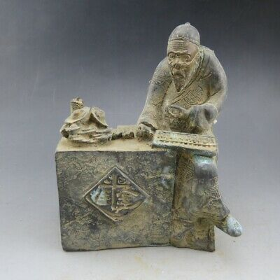 Chinese collections,noble collection,hand-carved,bronze,shopkeeper,statues M456