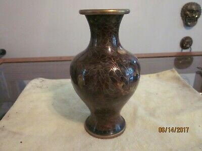 c.1960 Chinese or Japanese Cloisonne over Bronze or Brass Vase, brass interior