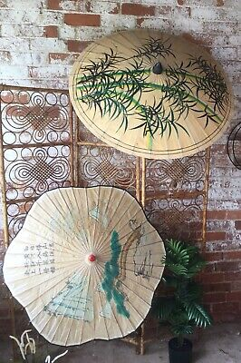 2 Decorative Vintage 50s Retro Bamboo Linen Paper Hand Painted Chinese Parasols