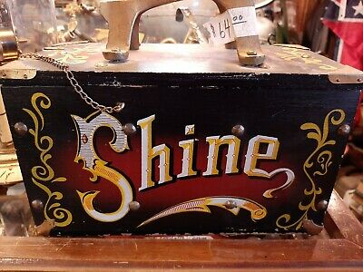 Vintage Shoe Shine Box Advertising    Wooden  Storage Box