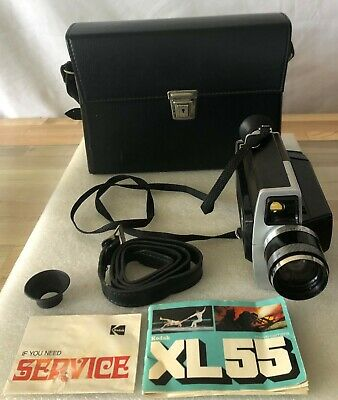 1970's vintage Super 8 Kodak XL55 FILM Movie Camera, Carrying Case, and Manual
