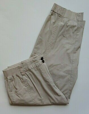 Chicos Cropped Cargo Pants Size 1.5 Womens 10 Capris Tan Elastic Waist Stretch