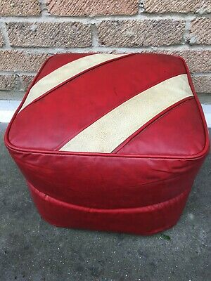 Vintage H.C. Hanley Mid Century, Pouffe Foot Stool, Red/Cream Leather, Original.