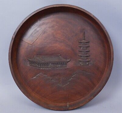 Antique Round Asian Architectural Landscape Carved Dark Wood Tray
