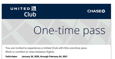 United Airlines UA Club (2) One-Time Passes; Expire on Feb 4, 2021 E-delivery