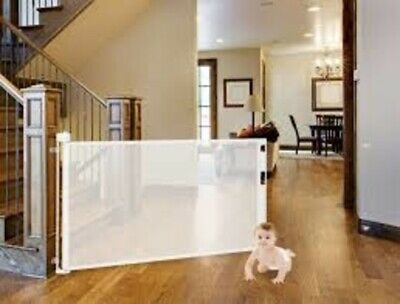 Smart Retractable Safety Gate - Baby Dog Child Pet - Cafe, covers up to 52 inch