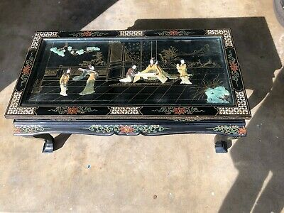 VINTAGE ORIENTAL ASIAN COFFEE TABLE Mother of Pearl, Black Lacquer CHINESE ART