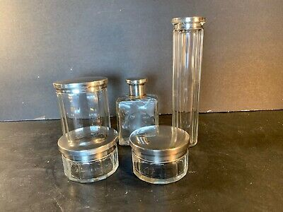 AGW Vintage 900-Silver-Plated/Glass Men's Vanity Set (5 Pieces)