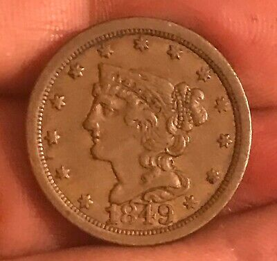 1849 braided hair half cent , XF +