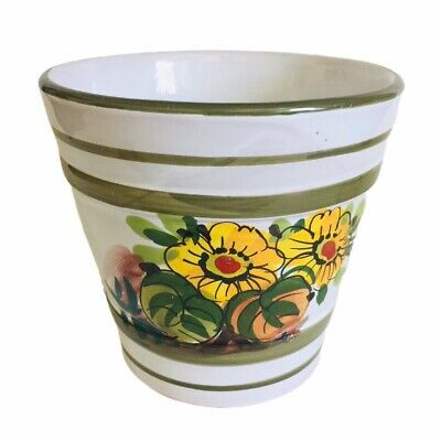 Vintage Italian Pottery Hand Painted Flower Pot Planter Italy Floral Green Yello