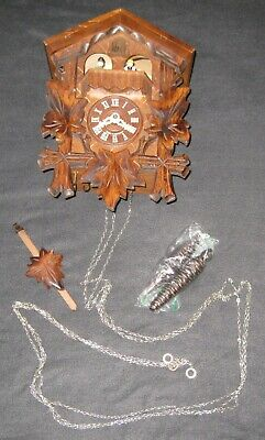 One Day Musical Cuckoo Clock/Dancers Four Hand-carved Maple Leaves/Bird~Untested