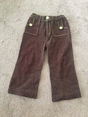 Retro Vintage Boys Girls Brown Yellow Flared Trousers 1970s Stage Film Prop