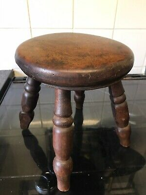 Antique Victorian Elm Farmhouse Kitchen Stool / Milking Stool