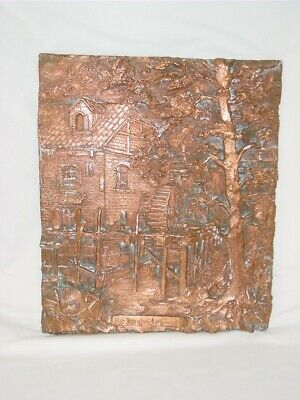 Antique or Old Wall Relief Plaque German Austrian Water Mill Copper Tone
