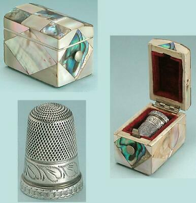 Antique Sterling Silver Thimble in Mother Of Pearl & Abalone Case * Circa 1860