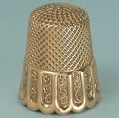 Antique 14 Kt Gold Scallop Band Thimble by Ketcham & McDougall * Circa 1890s