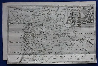 Original antique map MIDDLE EAST, ANCIENT SYRIA, EUPHRATES, J. Blundell, 1747