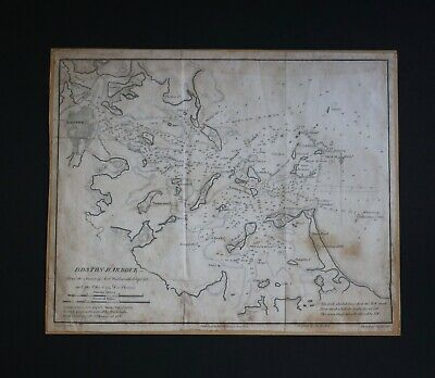 Boston Harbor Map/Chart 1827 by Edmund Blunt, Engraved by Hooker