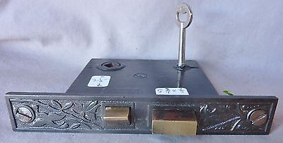 "Mortise lock/latch Eastlake 5 3/4""w Foliage w/ Hummingbird CAST IRON FACE W/KEY."
