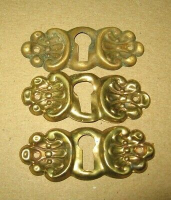 3 Stamped Brass Key Hole Escutcheon Covers Architectural Salvage~Stock a