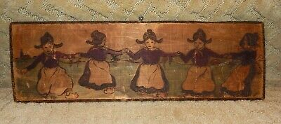 Antique Primitive Folk Art Dutch Maiden Carved Wood Picture Painting Plaque 1905