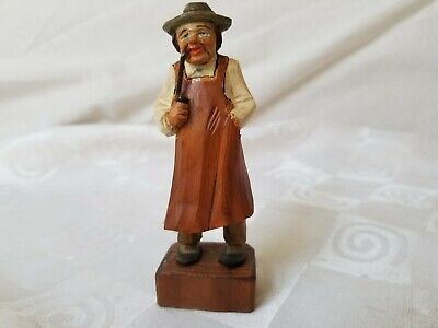 Black Forest German Wood Hand Carved and Painted Blue-eyed Old Man with Pipe