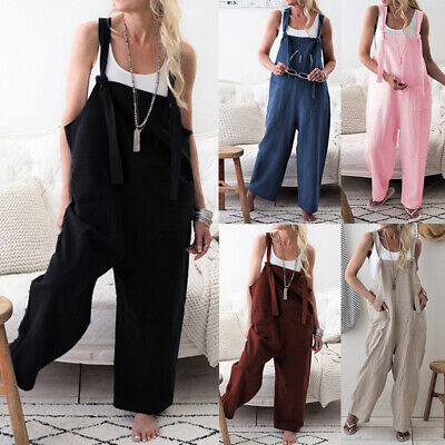 Women Casual Oversized  Jumpsuits Loose Overall with pocket Trousers Baggy Hot