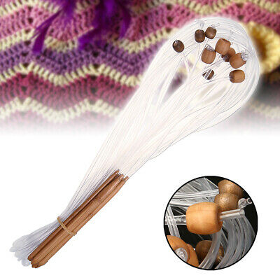 AU/12Pcs Bamboo Tunisian Crochet Hooks Set 2 sizes Carpet Weave Knitting Needles