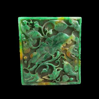 Chinese jade,collectibles,hand-carved,jadeite jade,Lotus & fish,statues K86