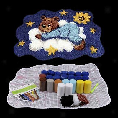 DIY Sleeping Bear Latch Hook Rug Kits Carpet Cushion Making Crafts Tools Set AUH