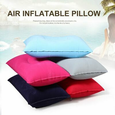 Sided Sleep Air Inflatable Pillow Folding Flocking Cushion Outdoor Travel