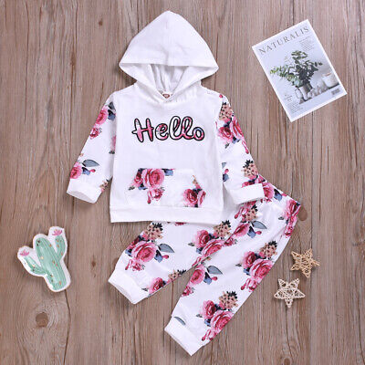 Baby Toddler Infant Girls Floral Tracksuit Hooded Tops Trousers Clothes Outfits