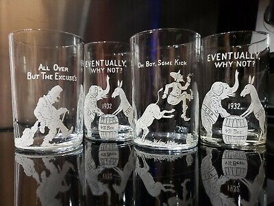 1932 End Of Prohibition Elephant Roosevelt Hoover Politics SET of 4 Glasses BEER