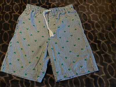 Sleep Pajama Shorts Lounge Women's S Cotton Green shamrocks. blue & wh. Stripe