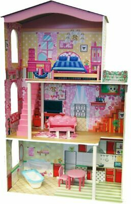 Tall Kids Girls Wooden Fashion Mansion Doll House & Furniture 3 Floors Toy 120cm