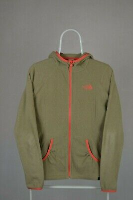 Womens Ladies THE NORTH FACE Polartec Beige Hooded Fleece Jacket Hoodie size M