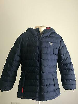 Girls Muddle Puddles Navy & Red Hooded Warm Winter Coat Jacket Kids Age 7-8 Yrs