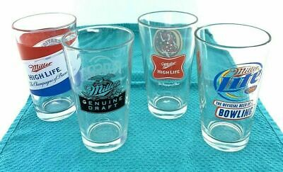 4-Miller Pint Glass Beer. Official Beer Of Bowling