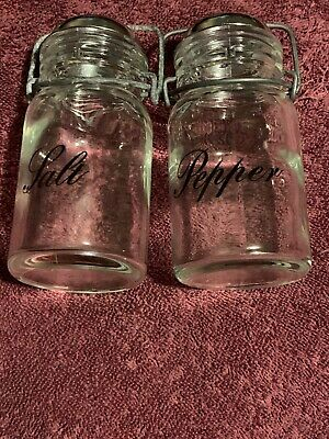 Vintage Wheaton Glass Canning Jar Style Salt and Pepper Shakers