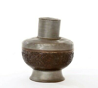 1930's Chinese Coconut Carved Carving Calligraphy Pewter Tea Caddy Box Cover Jar
