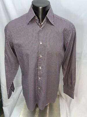 Canali Mens Large Shirt Long Sleeve Button Front Micro Check Italy