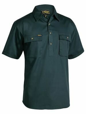 BISLEY Cotton Drill Work Shirt Closed Front Short Sleeve Bottle  BSC1433 2XL