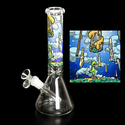 Water Pipe Hookah Shisha Bong 10'' Heavy Glass Smoke Cartoon Ice Catcher Beaker