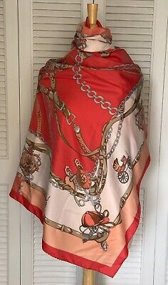 """Firenze Silk Scarf  Equestrian Theme  Purchased In Florence 46""""X46"""" Square"""