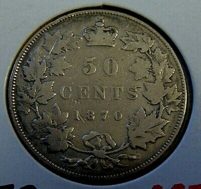 CANADA 1870 LCW silver HALF dollar Canadian Queen Victoria fifty cents