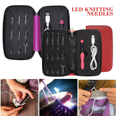 9/11tlg in 1 USB LED Light Up Rechargeable Crochet Hooks Knitting Needles Set AU