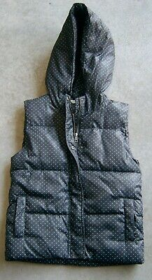 Country Road Girls Navy With White Polka Dots Hooded Puffer Vest Sz 12