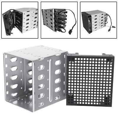 """Stainless Steel HDD Cage Rack SAS SATA Hard Drive Tray Caddy 5.25"""" To 5 x 3.5"""""""