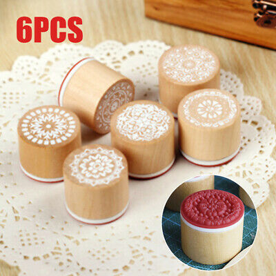6tlg Emboss Wood Stamp Mandala Lace Floral Pottery Polymer Clay Craft DIY Tools
