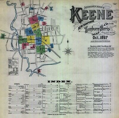 Keen, New Hampshire~Sanborn Map© sheets~1897-1902 in full color with 29 maps